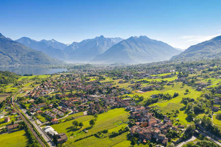 Lake Como (IT), Aerial view of the upper Lario in the area of Piona, Colico