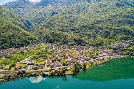 Lake of Novate Mezzola, Valchiavenna (IT), Verceia, aerial view
