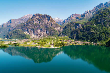 Lake of Novate Mezzola, Valchiavenna (IT), Campo and Val Codera, aerial view