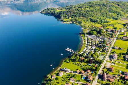 Lake Como (IT), Piona Bay, aerial view Archivio Fotografico