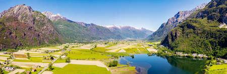 Panoramic aerial view of Valchiavenna with Laghetto Pozzo di Riva from Novate Mezzola Archivio Fotografico