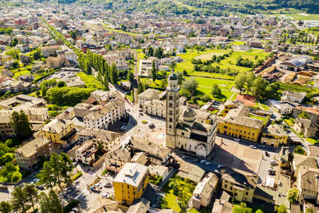 Tirano, Valtellina, Italy, Aerial view of the city and the Sanctuary of the Blessed Virgin