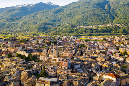 Sondrio, Valtellina (IT), Panoramic view of the city at dawn