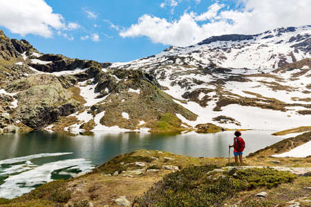Walk in the high mountains in spring Archivio Fotografico