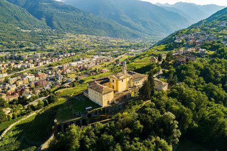 Sondrio, Valtellina, Italy, Aerial view of Sondrio and the Convent of S. Lorenzo Archivio Fotografico
