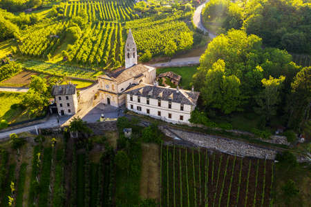 Valtellina (IT), Castionetto di Chiuro, Aerial view of the vineyards and little church