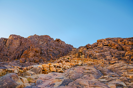 sinai desert: Mount Moses desert sunrise. Nature Background with sky and rocks