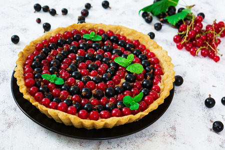 Delicious tart with custard and currant on white background Archivio Fotografico