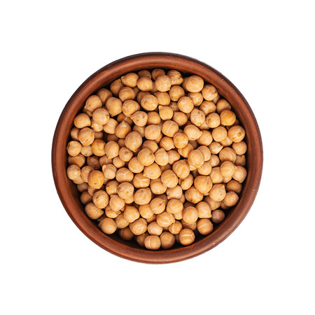 Chickpea in bowl isolated on white background. Top view Stock Photo