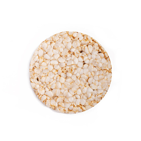 Puffed rice bread isolated on white background. Diet rice bread. Top view. Banco de Imagens