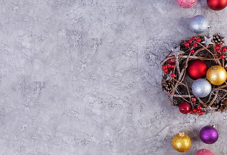 Christmas background. Christmas toys and decorations on wooden background. Top view