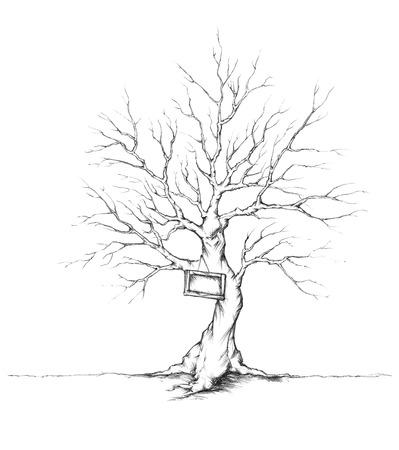 ラベルを持つ結婚式のゲストのための木