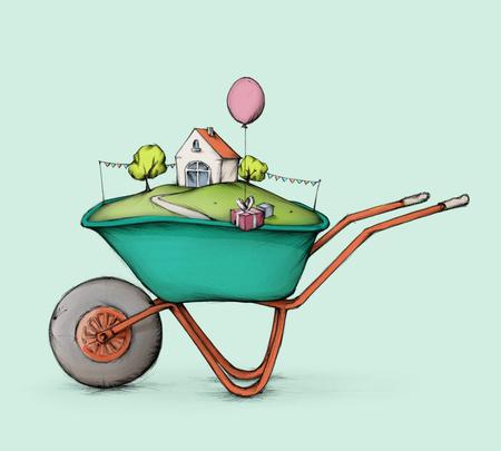housebuilding: A wheelbarrow filled with a nice home as a present