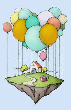 give away: A beautiful flying home Iceland with balloons Stock Photo