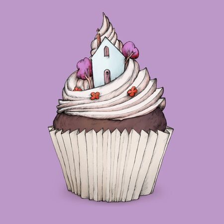 bonnet illustration: Cupcake with a cottage on top Stock Photo