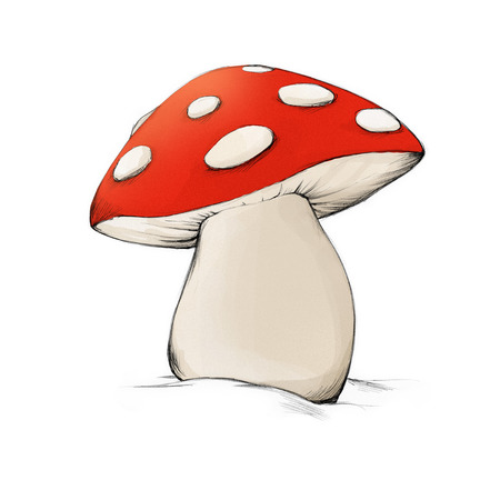 spongy: Illustration of a mushroom with some white dots Stock Photo