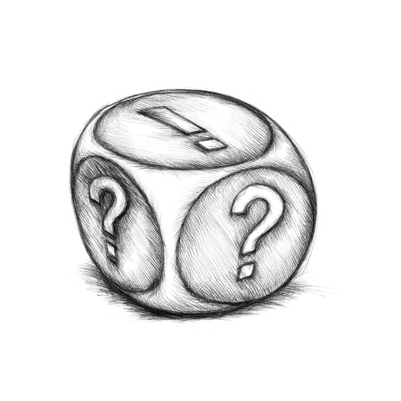 questionmark: Illustration of a dice with symbols