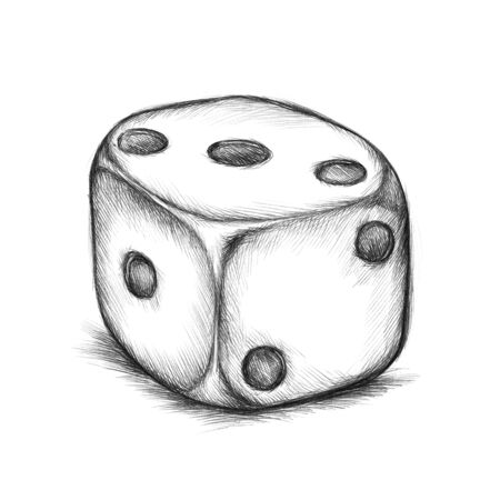 toss: Illustration of a dice with points Stock Photo