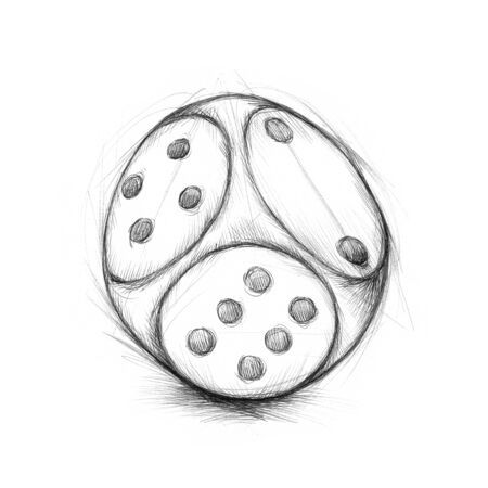 bad luck: Illustration of a dice on top