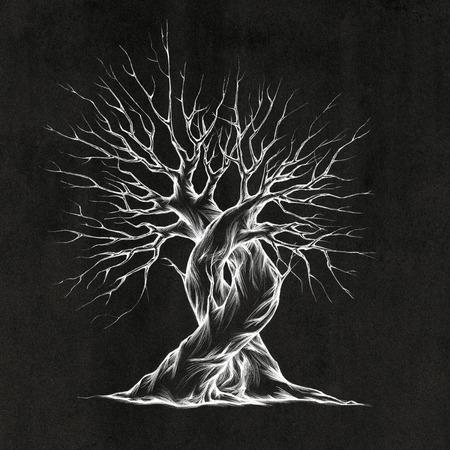 Illustratie van twee ineengestrengelde bomen