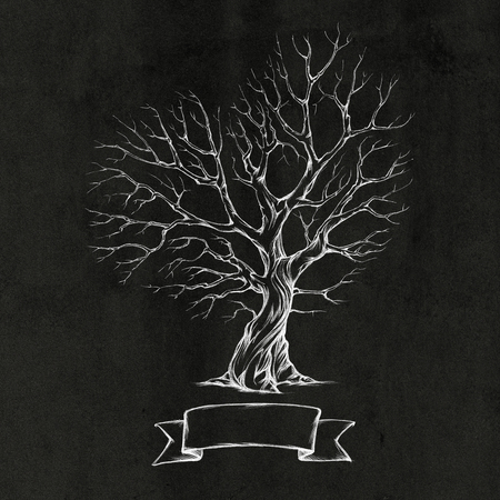 gnarled: Illustration of a tree with a heart-shaped crown on a dark background