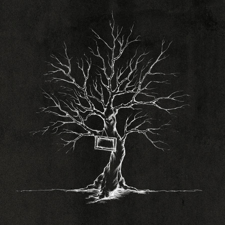 gnarled: Illustration of a tree without leaves and with a sign