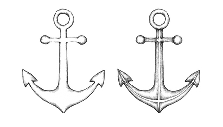 big boat: Illustration of two different anchors
