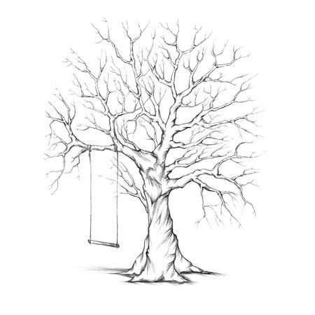 Illustratie van een boom met een schommel Stockfoto