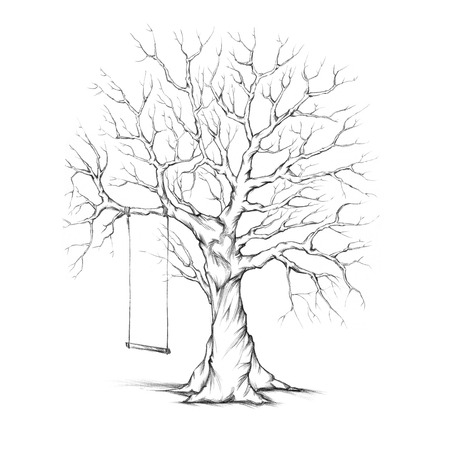 Illustration of a tree with a swing
