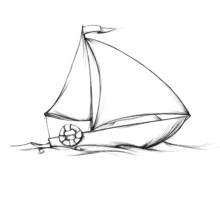 life belt: Illustration of a small sailboat on the sea Stock Photo