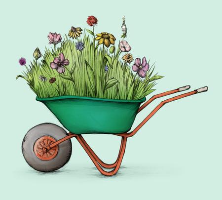 Illustration of a Flower meadow in wheelbarrow