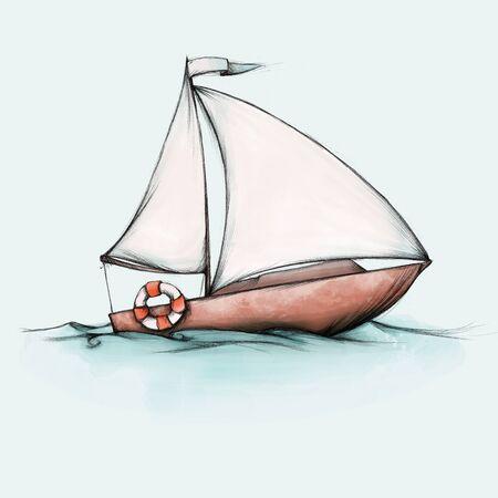 Illustration of a small sailboat on the sea Фото со стока