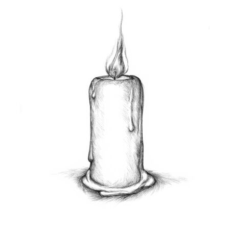 thoughtful: Illustration of a simple burning candle Stock Photo