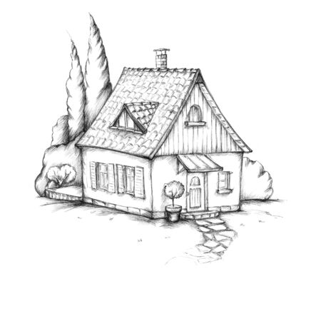 lovingly: Illustration of a lovingly designed house