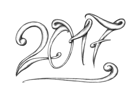 beginnings: Illustration of a handmade lettering 2017 Stock Photo