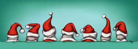 bobble: Illustration of some santas with christmas hats