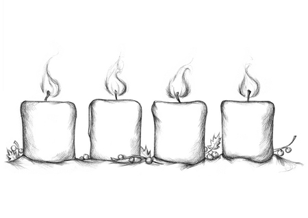 advent candles: Illustration of four burning Advent candles