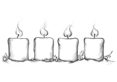 Ilustracja cztery płonącej Adwentowej świeczki