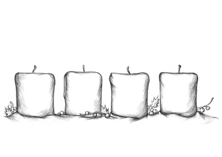 advent candles: Illustration of four Advent Candles