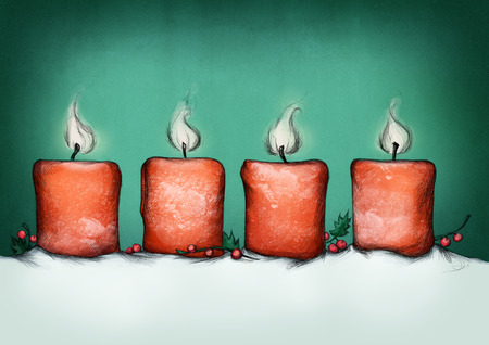 white candle: Illustration of four burning advent candles Stock Photo