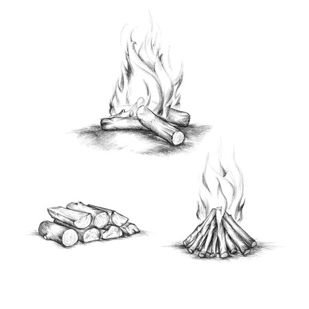Illustration of heating with wood