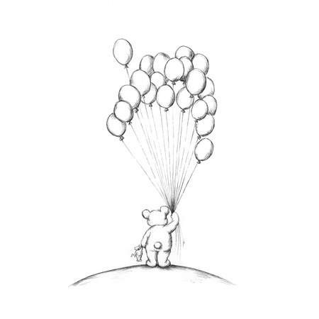 Illustration of a little bear with some balloons Stock Photo