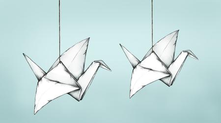 tinkered: Folded cranes floating, Stock Photo