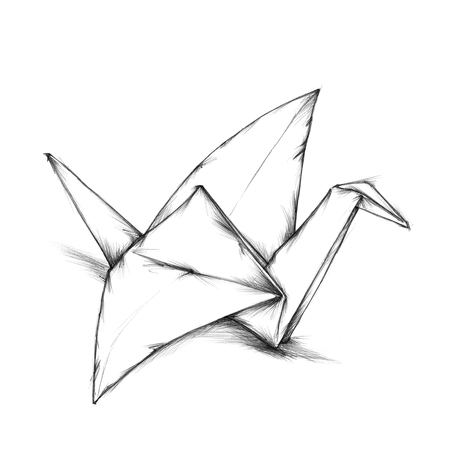 tinkered: Paper crane Stock Photo