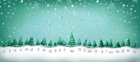 Illustration of an Advent calendar with fir trees