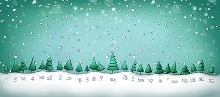 Illustration of an Advent calendar with fir trees