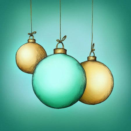 christmas tree illustration: Illustration of three christmas tree balls