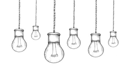 cordon: Illustration of hanging lamps in industrial style Stock Photo