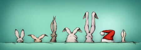 guest: Illustration of some Easter bunnies with surprise guest Stock Photo