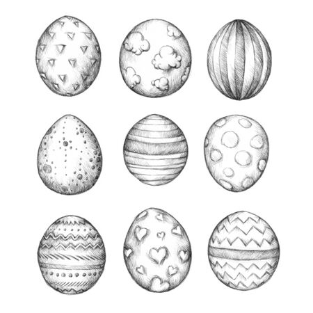 osterfest: Illustration of some easter eggs with different patterns